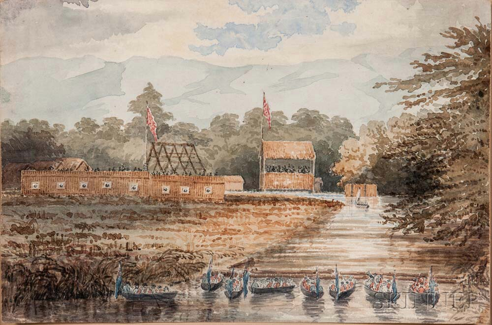 Watercolor Depicting the American Surrender at Fort Shelby, Prairie du Chien, Wisconsin, 20 July 1814, in the Style of Seth Eastman (18