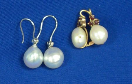 Two Pairs of 14kt Gold and Cultured Pearl Earrings