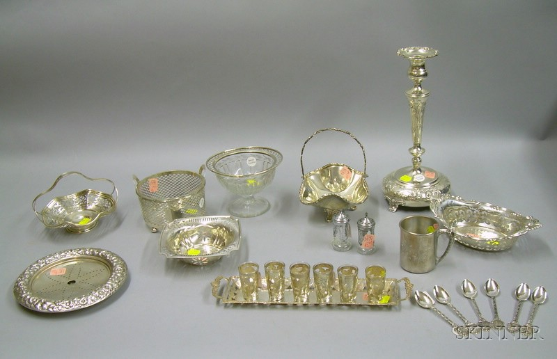 Approximately Twenty-three Sterling and Silver Plated Tableware Items
