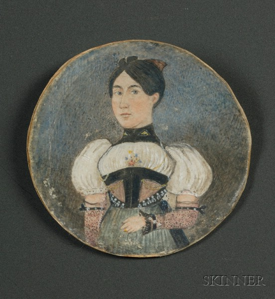 Portrait Miniature of a Woman in a Fancy Dress with Puffy Sleeves