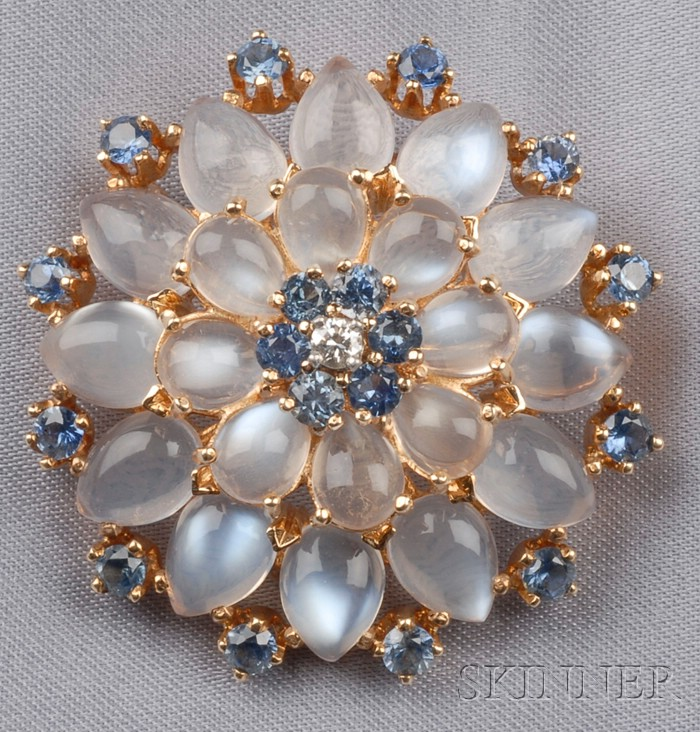 14kt Gold, Moonstone, and Sapphire Pendant/Brooch, Krementz & Co.