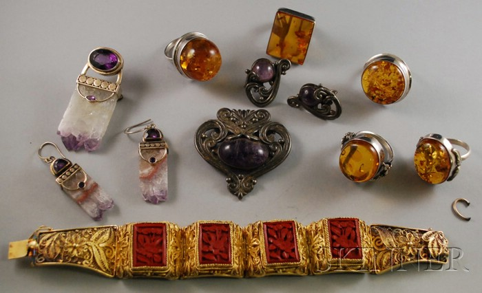Group of Silver and Hardstone Jewelry
