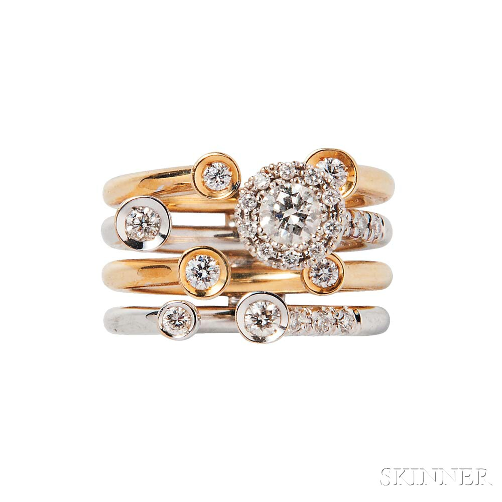 18kt Bicolor Gold and Diamond Ring, Favero