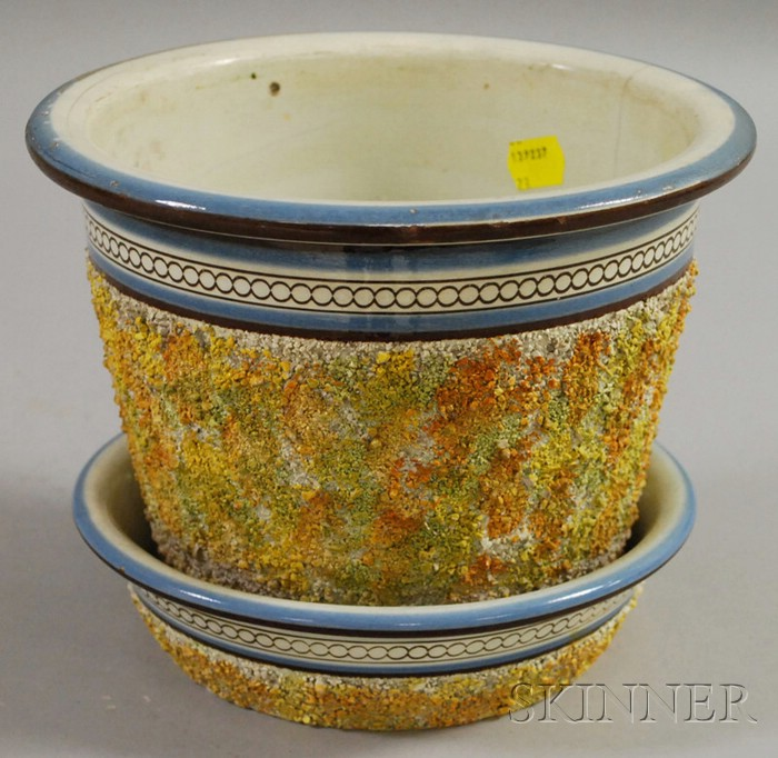 Mochaware Encrusted Jardiniere and Underplate