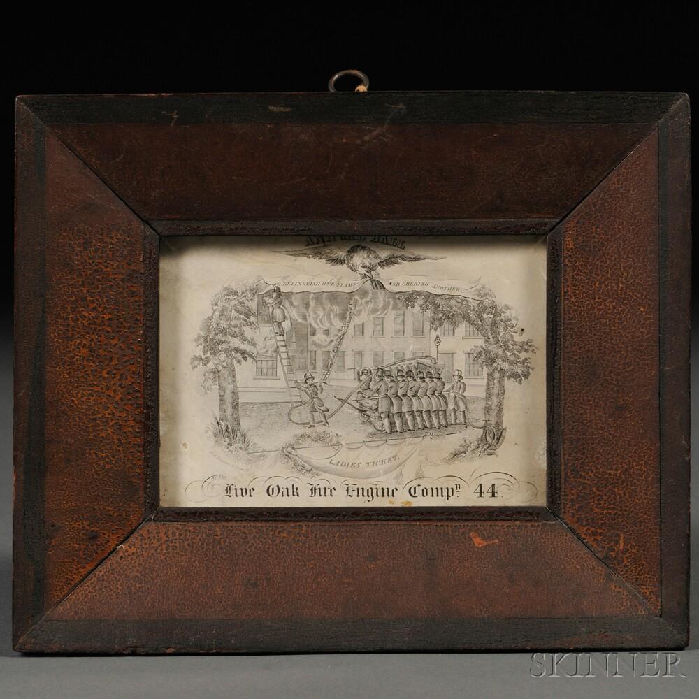 Framed Engraved Firemen's Ball Ticket