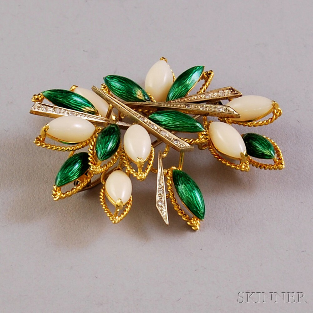 18kt Gold, Coral, Enamel, and Diamond Brooch