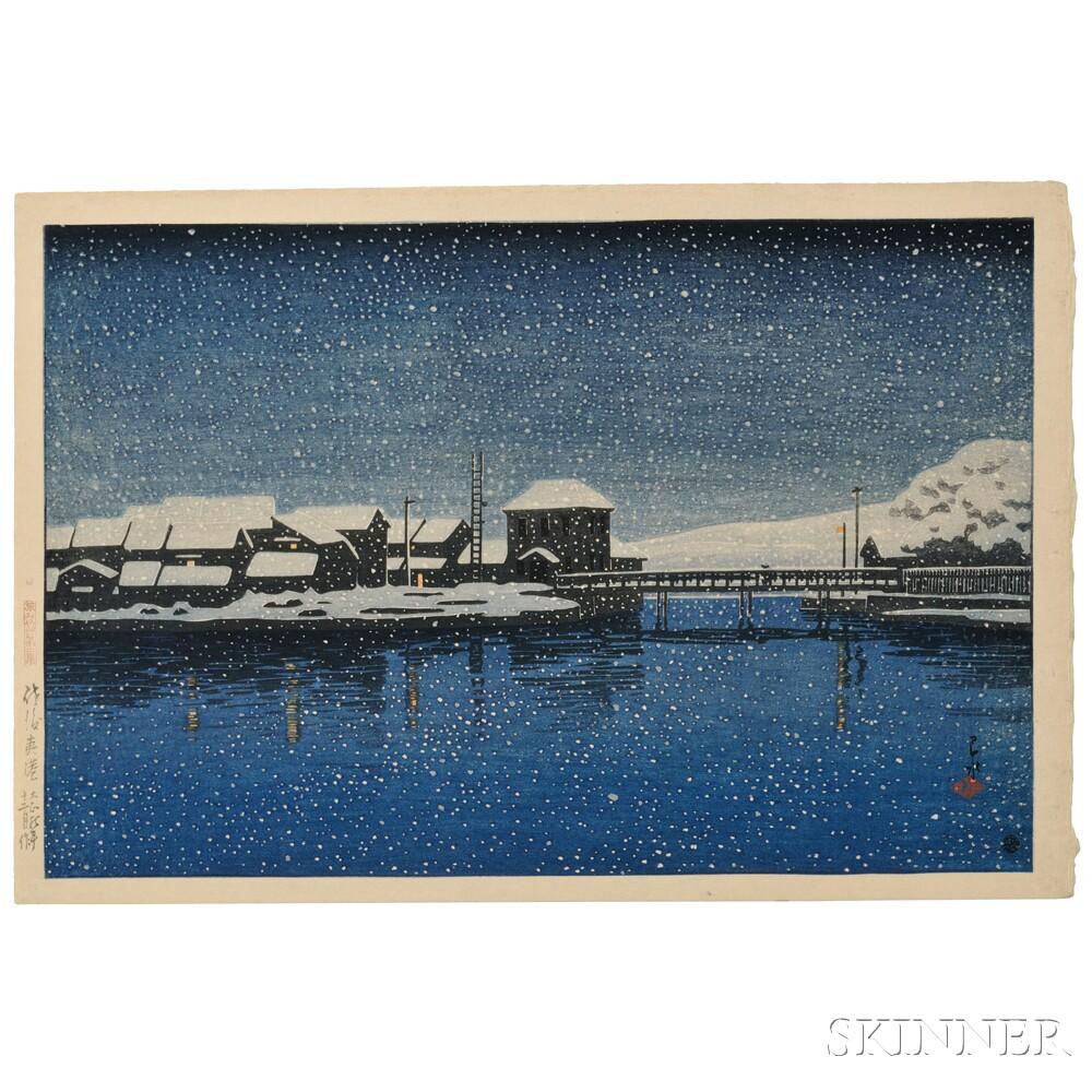 Kawase Hasui (1883-1957), Ebisu Harbor, Sado Island