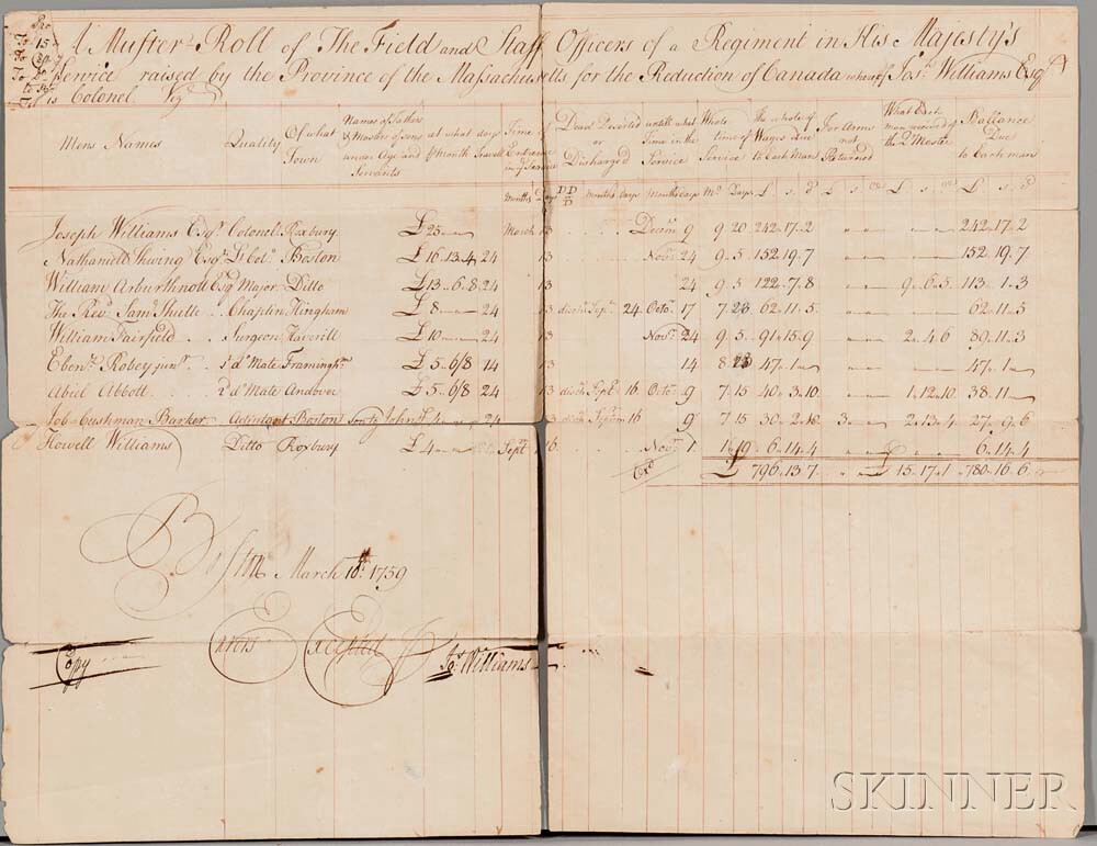 Muster Roll, French and Indian War, Massachusetts, 10 March 1759.