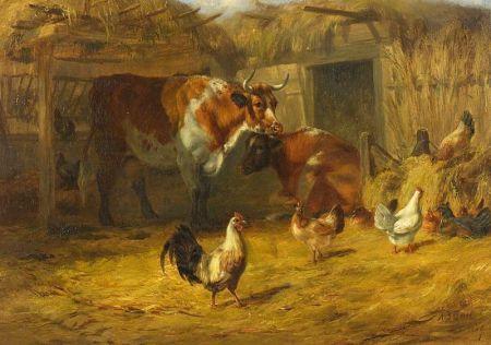 Arthur Fitzwilliam Tait (American, 1819-1905) Barn Scene ...