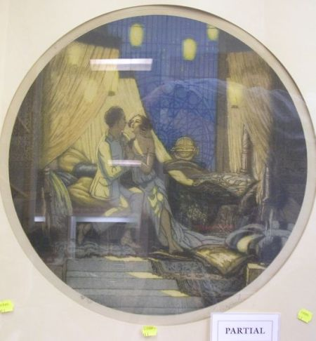 Framed Art Deco Lithograph of Two Lovers in an Interior and an Unframed Stafford & Co. Lithographed Circus Poster.
