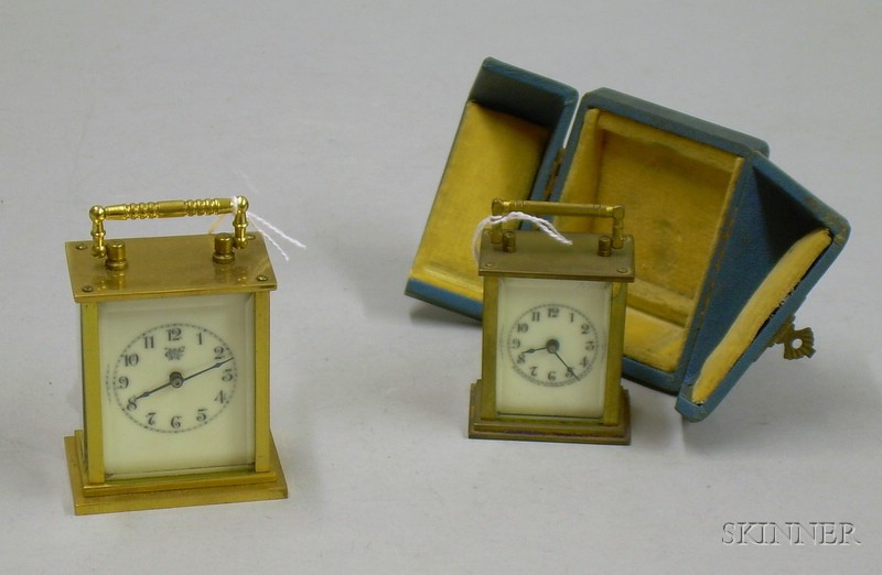 Two Miniature Carriage Clocks