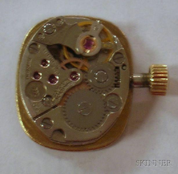 Lady's 17-Jewel Hamilton 14kt Yellow Gold and Diamond Bracelet Wristwatch