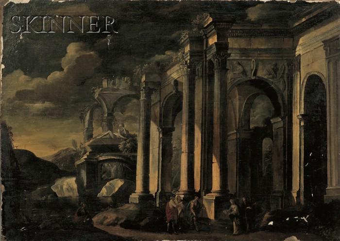 School of Leonardo Coccorante (Italian, 1680-1750)      Landscape with Classical Ruins
