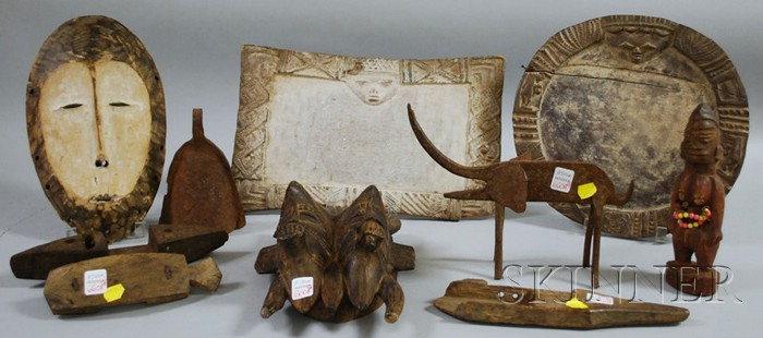 Ten African Wood and Metal Items
