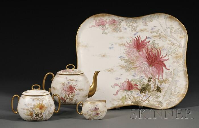 Doulton Burslem Four-piece Hand-painted Porcelain Tea Set