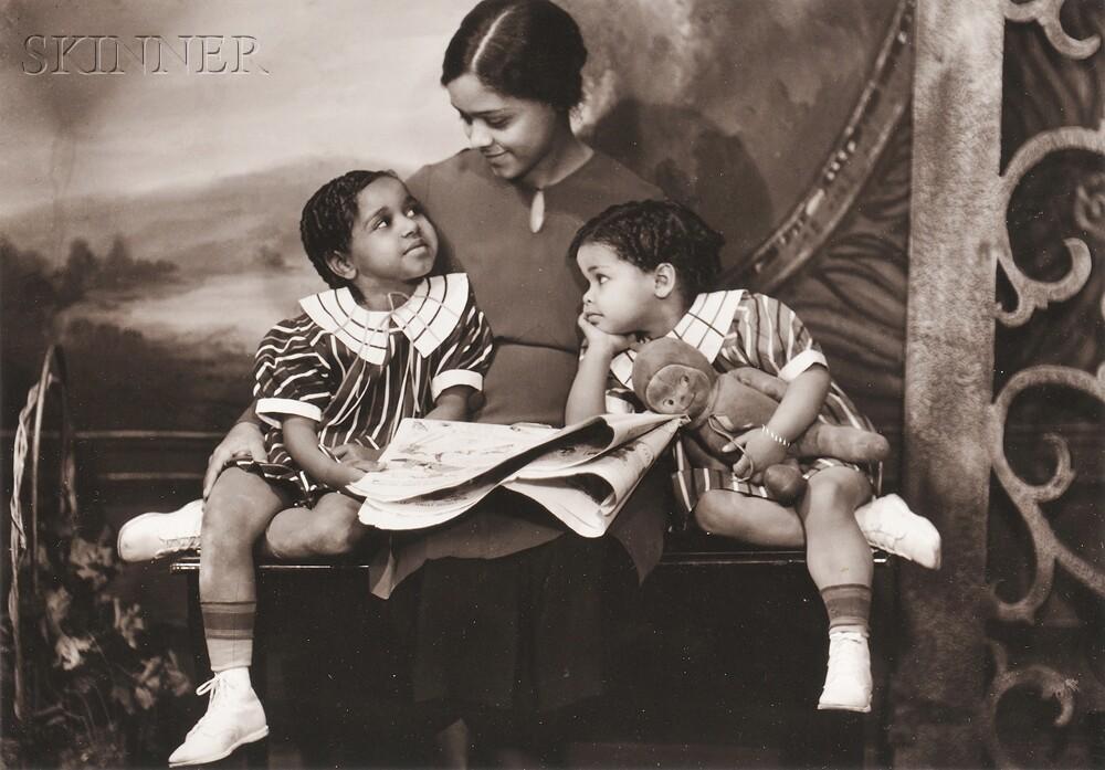 James Van Der Zee (American, 1886-1983)      Portrait of a Mother and Two Children