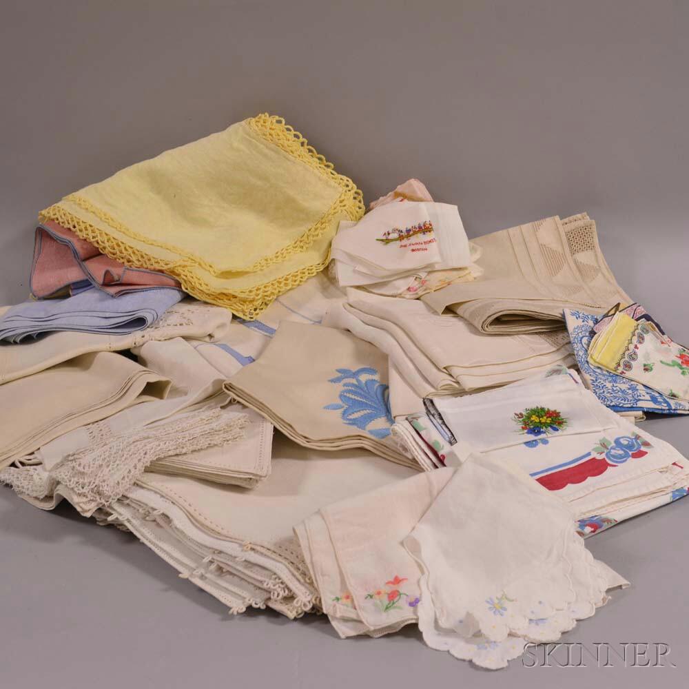Group of Linen Napkins, Tablecloths, Towels, and Handkerchiefs