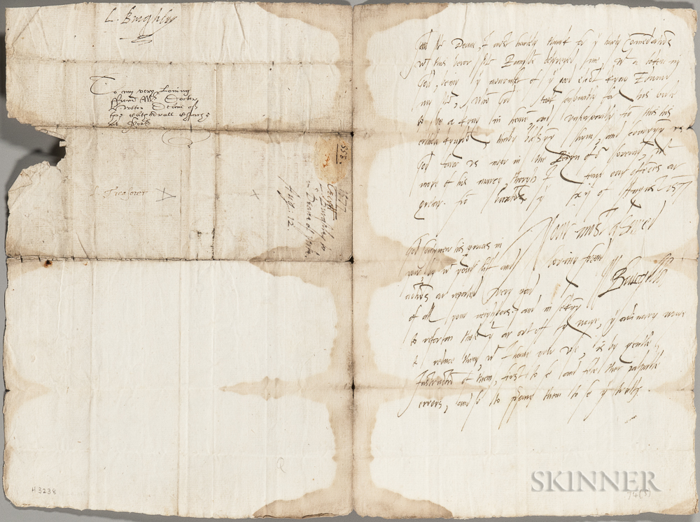 William Cecil, 1st Baron Burghley (1520-1598) Autograph Letter Signed, Buxton, 12 August 1577.