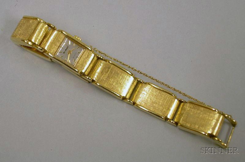 Modern Lady's Ben Birbeck Textured 14kt Yellow Gold Bracelet Wristwatch