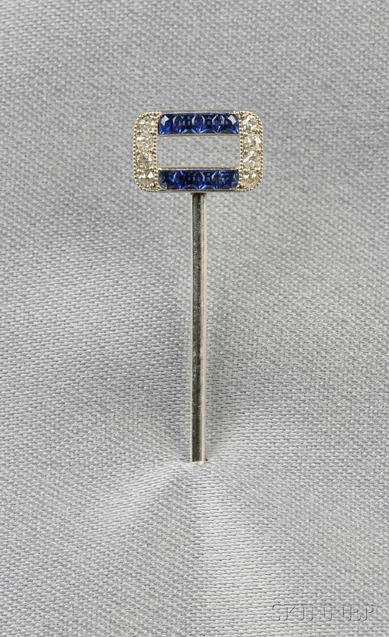 Art Deco Platinum, Sapphire, and Diamond Stickpin, Cartier