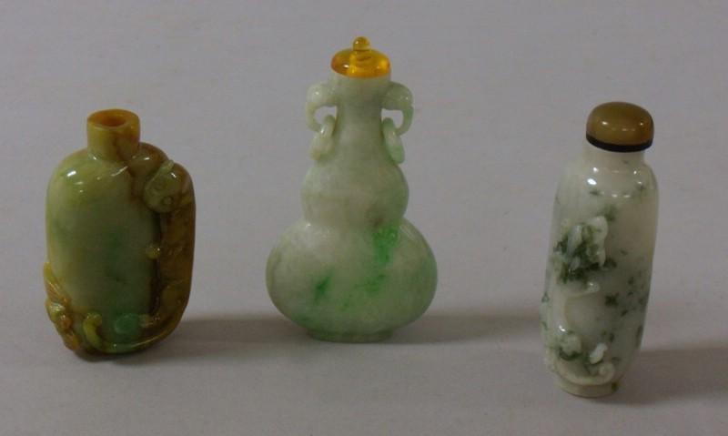 Twelve Carved Jade Snuff Bottles