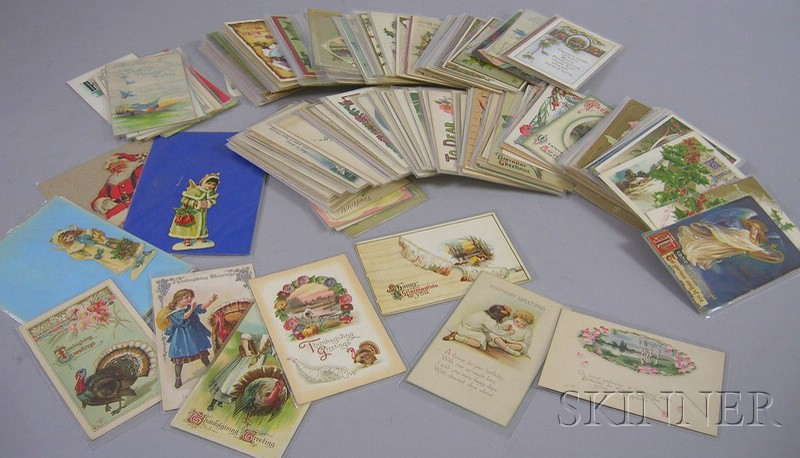 Lot of Early 20th Century Christmas, Birthday, and Thanksgiving Postcards.