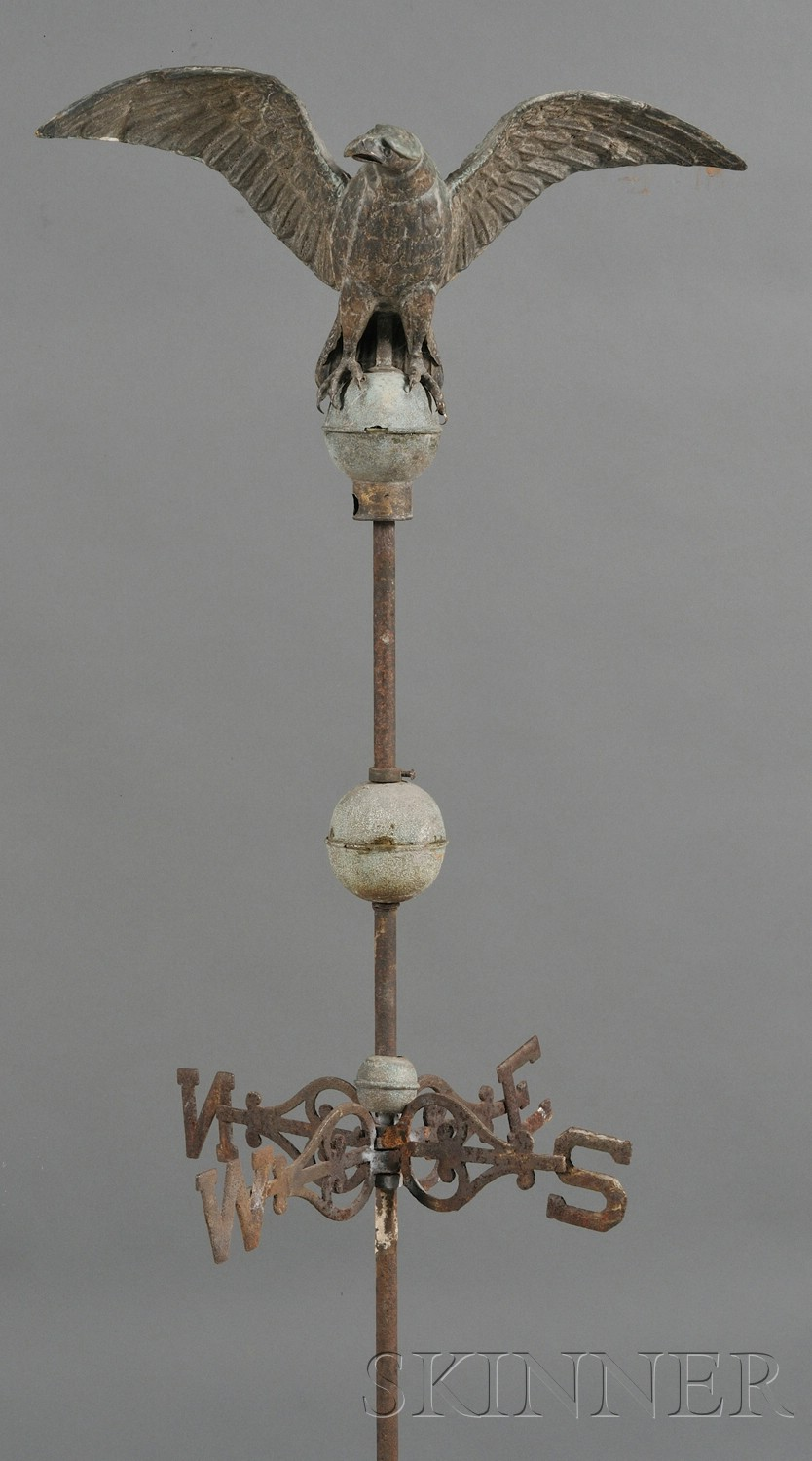 Small Molded Copper Eagle Weather Vane on Stand