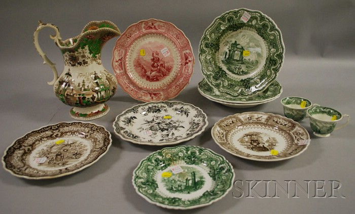 Eleven Pieces of Assorted Transfer-decorated Staffordshire Tableware