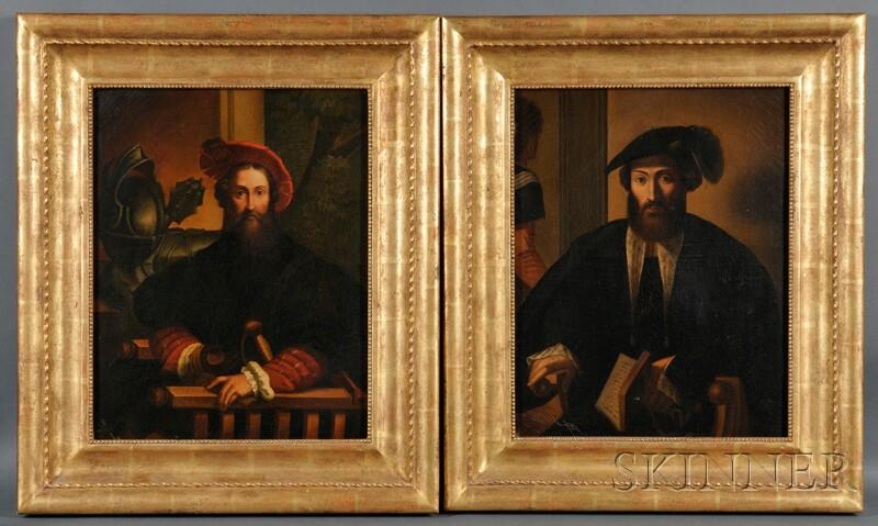 Italian School, 17th Century Style      Pair of Portraits of Gentlemen