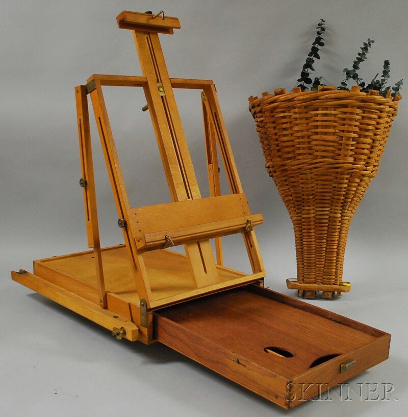 French Painter's Folding Wood Travel Easel and Woven Split-wood Wall Basket