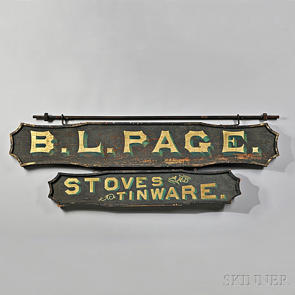 """Two-sided """"B.L. PAGE./STOVES AND TINWARE."""" Trade Sign"""