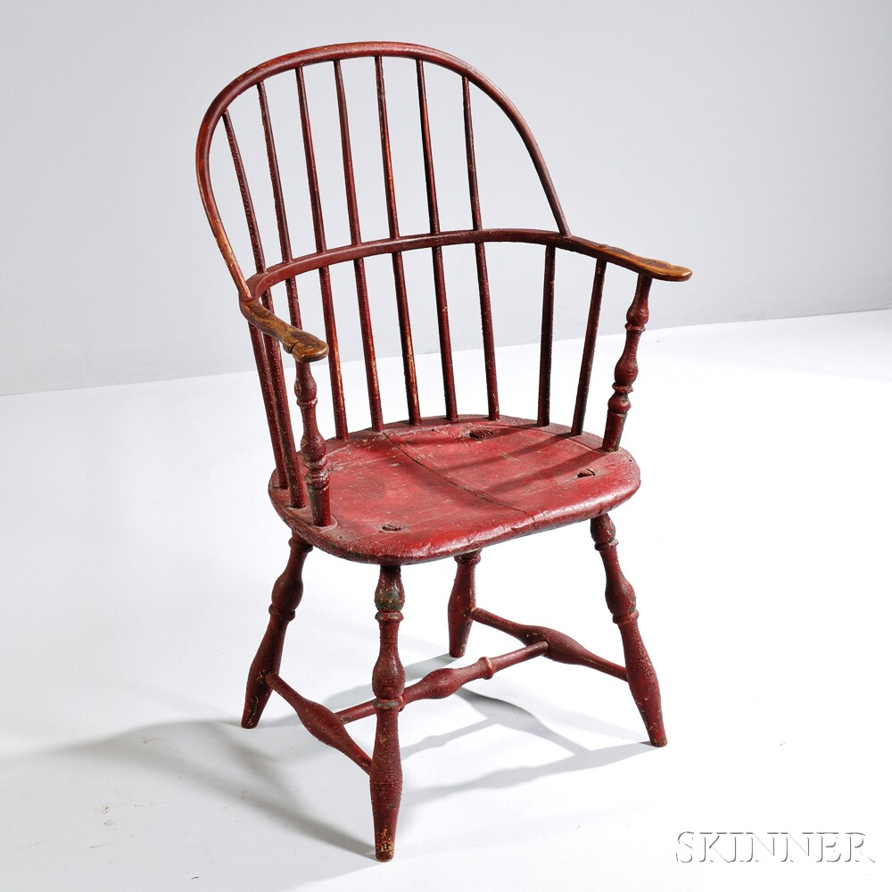 Red-painted Sackback Windsor Chair