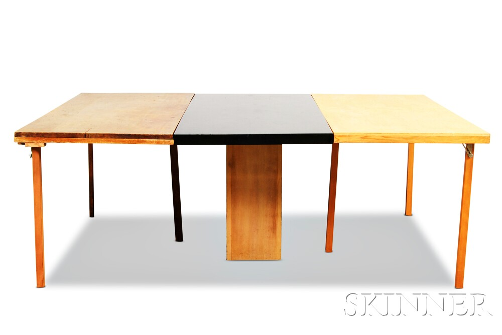mid century modern black lacquered and blond laminate dining table