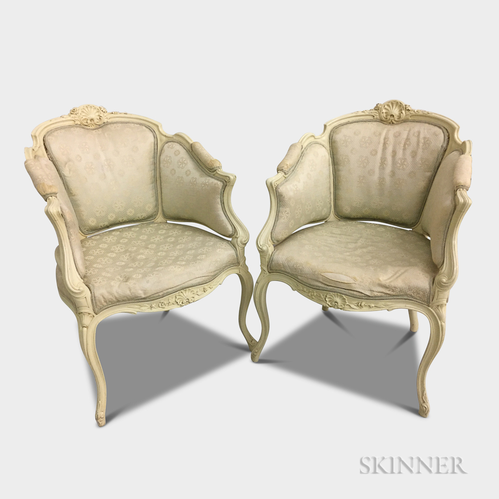 Pair of Louis XV-style White-painted Bergeres