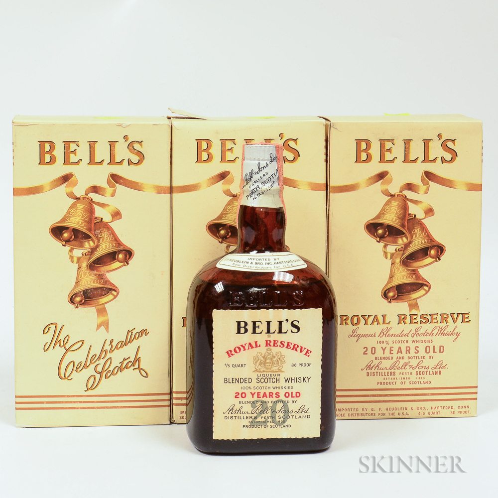 Bells Royal Reserve 20 Years Old, 3 4/5 quart bottles (oc)