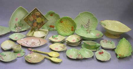Approximately Thirty Pieces of Carlton Ware Decorated Leaf-form Tableware.