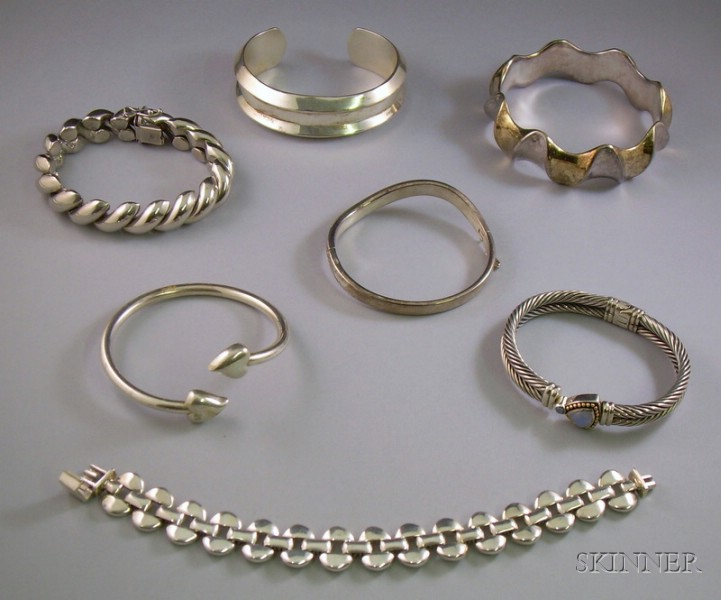 Seven Mostly Sterling Silver Bangles and Bracelets