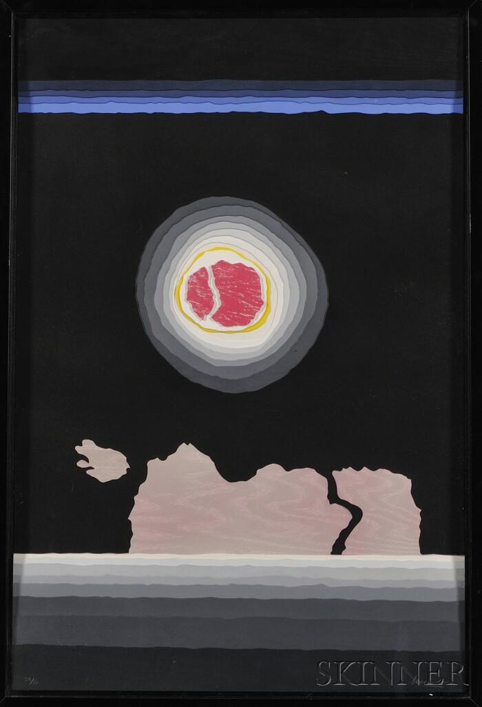 Arthur Secunda  (American, b. 1927)      Composition with Red Sun.