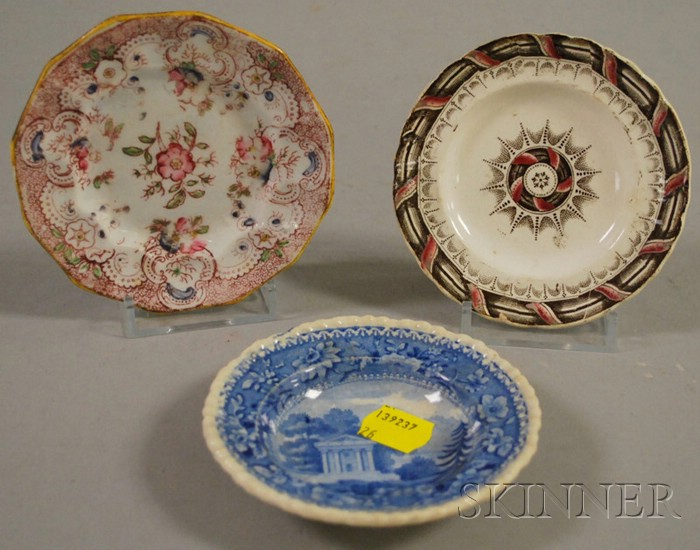 Three English Transfer-decorated Staffordshire Cup Plates.