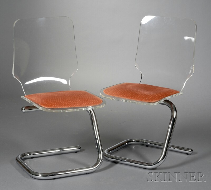 Two Modern Cantilevered Chairs