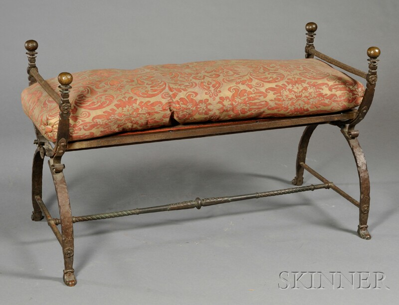 Iron Bench with Fortuny Cushion