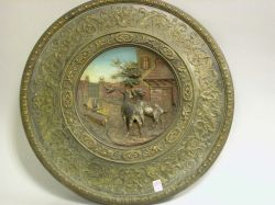 German Painted Terra-cotta Relief Wall Plaque.