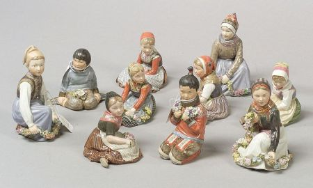 Ten Royal Copenhagen Porcelain Figures of Scandinavian Children