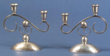 Pair of Sciaratta Modernist Sterling Two-Light Candelabra