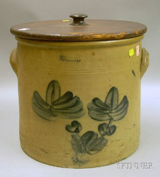 Cobalt Decorated Stoneware Crock with Wooden Lid
