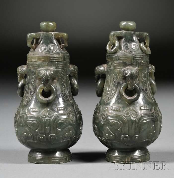 Pair of Jade Covered Jars