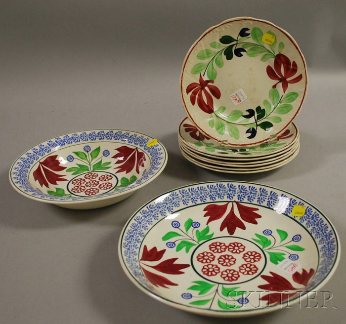 Set of Seven English Hand-painted Floral-decorated Staffordshire Plates and a   Stickware Plate and Bowl