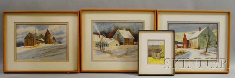 Four Works:      Loring Wilkins Coleman, Jr. (American, b. 1918), Posted-Keep Out
