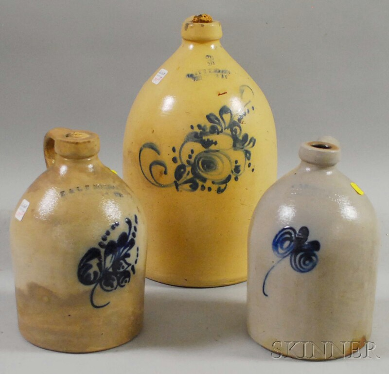 Three Cobalt Floral-decorated Stoneware Jugs