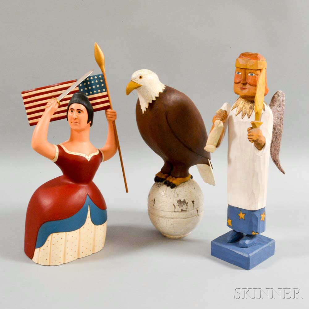 Three Contemporary Folk Art Polychrome Carved Figures